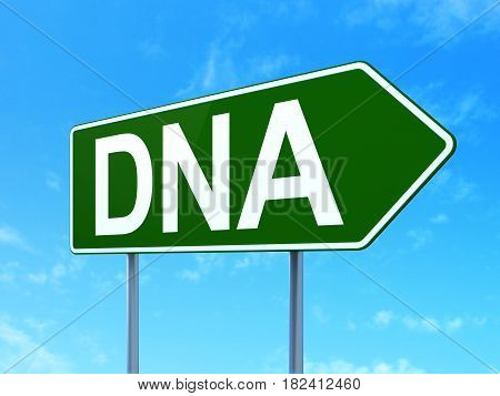 Health concept: DNA on green road highway sign, clear blue sky background, 3D rendering