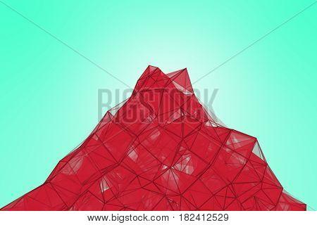 Futuristic technology turquoise background. Pink pomegranate plexus triangle futuristic fantasy. 3D rendering.
