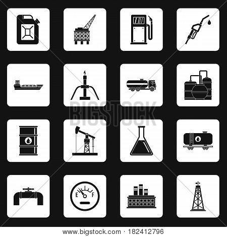 Oil industry items icons set in white squares on black background simple style vector illustration