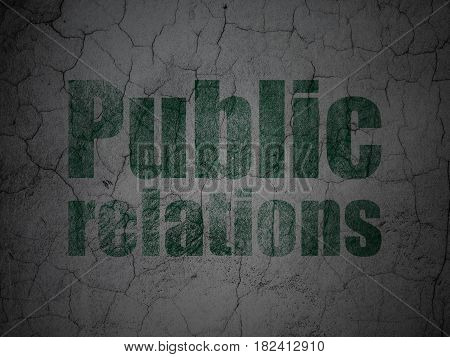 Advertising concept: Green Public Relations on grunge textured concrete wall background