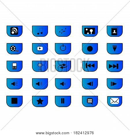 25 different media icons for sites and media commercials;