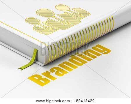 Marketing concept: closed book with Gold Business People icon and text Branding on floor, white background, 3D rendering