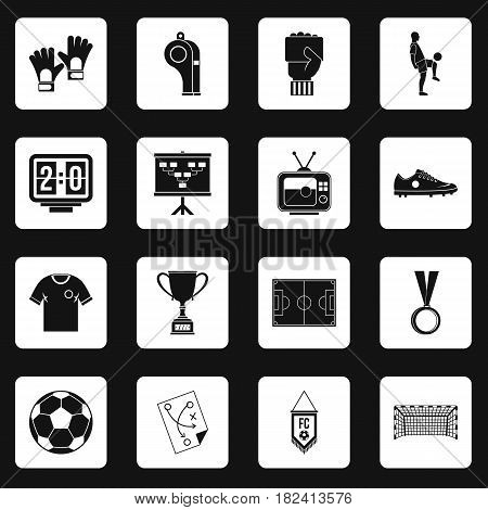 Soccer football icons set in white squares on black background simple style vector illustration