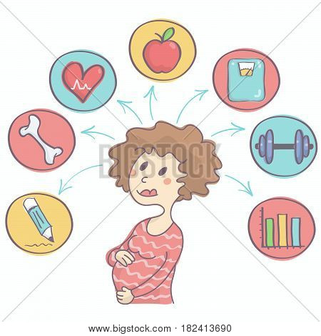 Cute vector cartoon of childbearing woman with colorful icons above her showing happy and healthy pregnancy concept
