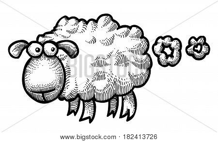 Cartoon image of farting sheep. An artistic freehand picture.