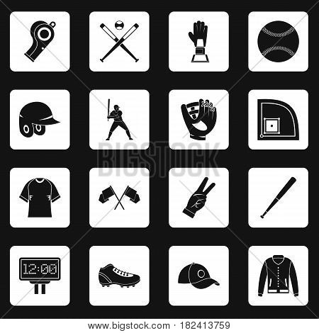Baseball icons set in white squares on black background simple style vector illustration
