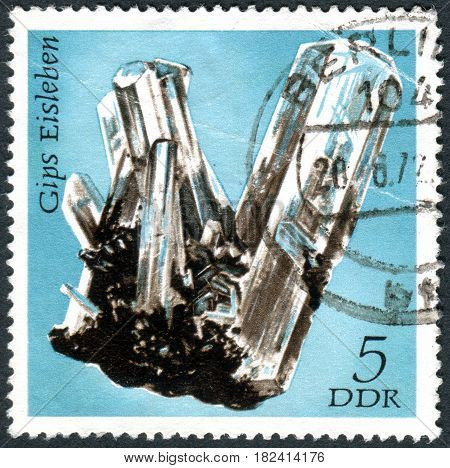 GERMANY - CIRCA 1972: A stamp printed in Germany (GDR) shows the minerals found in East Germany: Gypsum Eisleben circa 1972