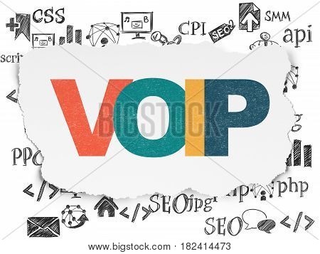 Web development concept: Painted multicolor text VOIP on Torn Paper background with  Hand Drawn Site Development Icons