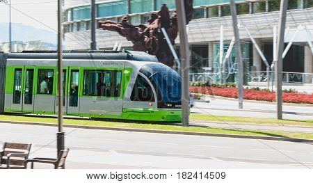 Tramway Leaving A Station In The City Of Bilbao, Spain