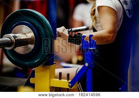 female powerlifter bench press barbell competitions in powerlifting