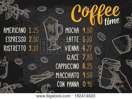 Restaurant or cafe menu coffee drink with price. Hand holding a cup, beans, stick cinnamon, branch with leaf and berry. Vintage color vector engraving illustration on dark background.
