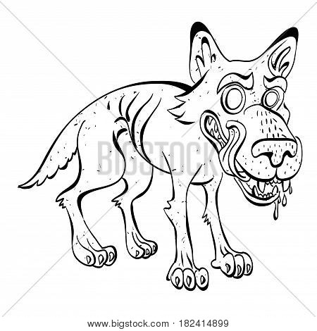 Cartoon image of hungry wolf. An artistic freehand picture.