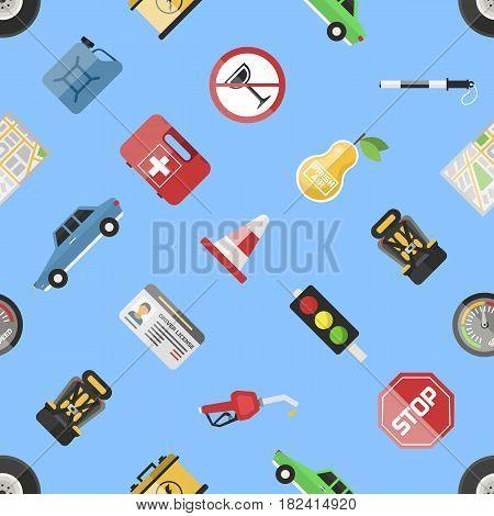 Auto transport motorist icons symbols and equipment symbols service car driver tools high detailed vector illustration set. Prohibitive signs transmission seamless pattern