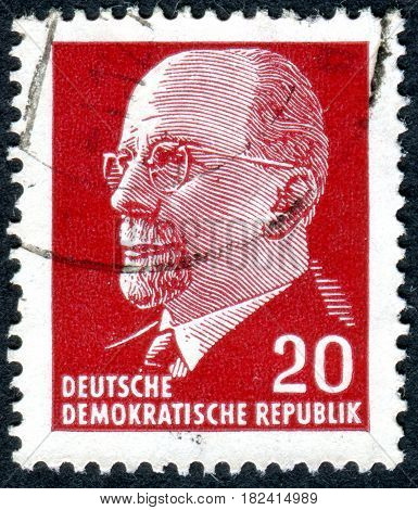 GERMANY - CIRCA 1963: A stamp printed in Germany (GDR) shows the portrait of a German Communist politician Walter Ulbricht circa 1963