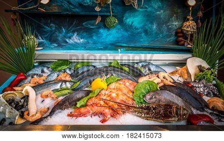 Fresh seafood and fishes lying on ice in the showcase. Rethymno on Crete island, Greece.