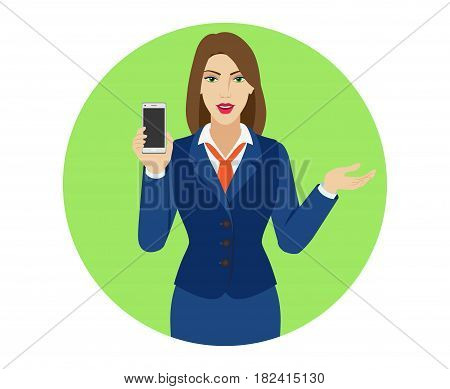 Businesswoman holding a mobile phone and gesturing. Portrait of businesswoman character in a flat style. Vector illustration.