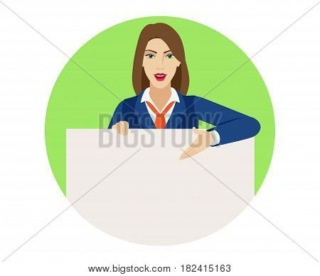 Businesswoman holding white blank poster and showing blank signboard. Portrait of businesswoman character in a flat style. Vector illustration.