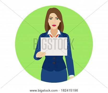 Businesswoman holding a paper. Portrait of businesswoman character in a flat style. Vector illustration.