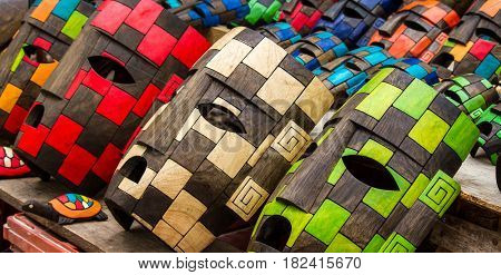 Mayan mask handcraft in Mexico different colours