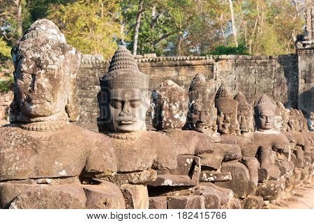 Siem Reap, Cambodia - Feb 4 2015: Angkor Thom. A Famous Historical Site(unesco World Heritage Site)