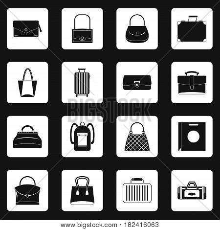 Bag baggage suitcase icons set in white squares on black background simple style vector illustration