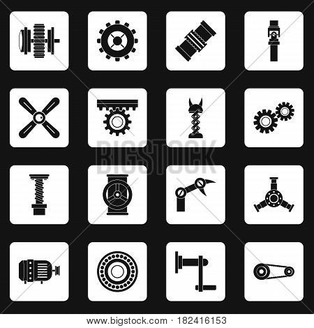 Techno mechanisms kit icons set in white squares on black background simple style vector illustration