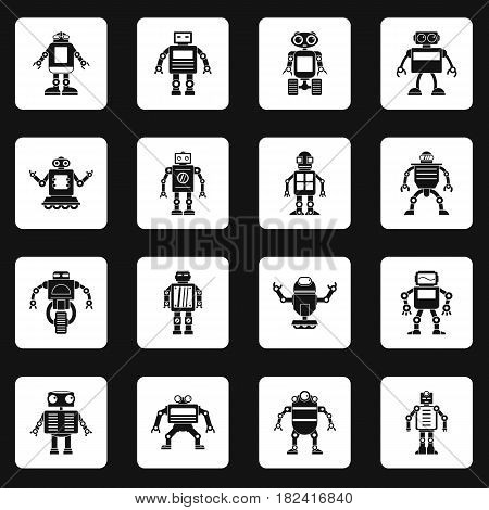 Robot icons set in white squares on black background simple style vector illustration