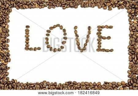 The word love written with coffee beans and frame made of coffee beans