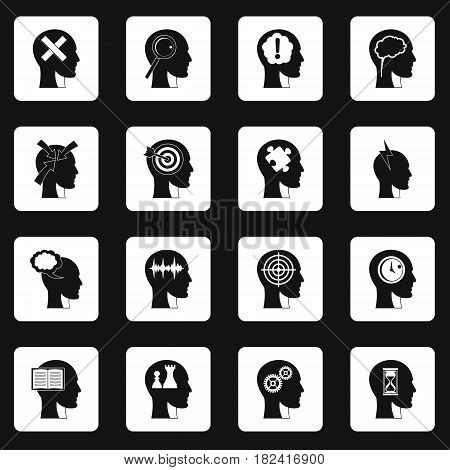 Head logos icons set in white squares on black background simple style vector illustration