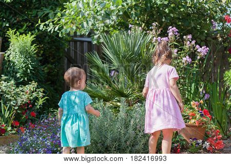 Two little girls in the garden looking at the lavender plants, selective focus