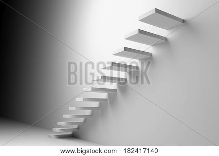Ascending stairs of rising staircase going upward in dark white empty room abstract white 3d illustration. Business growth progress way and forward achievement creative concept
