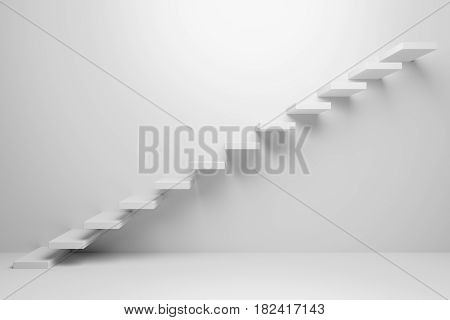 Ascending stairs of rising staircase going upward in white empty room abstract white 3d illustration - Business growth progress way and forward achievement creative concept