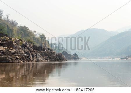 Pakbeng, Laos - Mar 04 2015: Slow Boat Cruise On The Mekong River. Popular Tourist Adventure Trip By