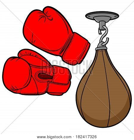 A vector illustration of a pair of Boxing Gloves and a punching bag.
