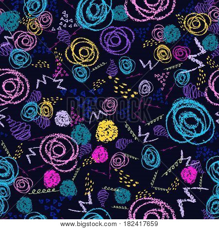 Vector colorful seamless pattern with brush strokes and circles. Pink blue yellow green color on black background. Hand painted grange texture Ink round elements Fashion modern style. Fantasy chaotic.