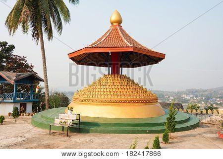 Huay Xai, Laos - Mar 03 2015: Vat Chome Khaou Maniratn. A Famous Temple In Huay Xai, Laos.