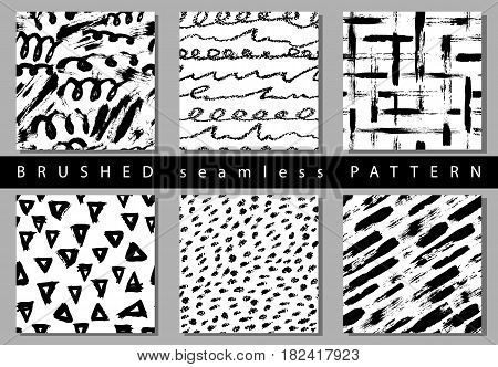 Vector Set of seamless pattern with brush stripes and strokes. Black color on white background. Hand painted grange texture. Ink geometric elements. Fashion modern style. Endless fabric retro print.
