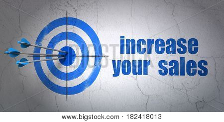 Success business concept: arrows hitting the center of target, Blue Increase Your  Sales on wall background, 3D rendering