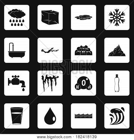 Water icons set in white squares on black background simple style vector illustration