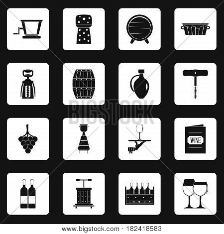 Wine icons set in white squares on black background simple style vector illustration