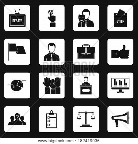 Election voting icons set in white squares on black background simple style vector illustration