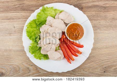 Boiled Chicken Meat With Lettuce, Sweet Pepper And Sauce