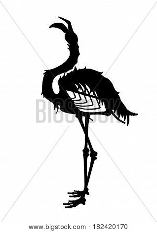 Graphic demonic flamingo silhouette. Shabby bird with open skull and bones. Vector fantasy art isolated on white background