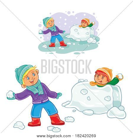Vector winter illustration of small children playing snowballs. Print