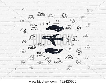 Insurance concept: Painted black Airplane And Palm icon on White Brick wall background with  Hand Drawn Insurance Icons