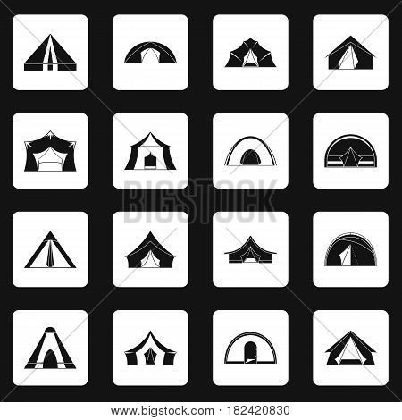 Tent forms icons set in white squares on black background simple style vector illustration