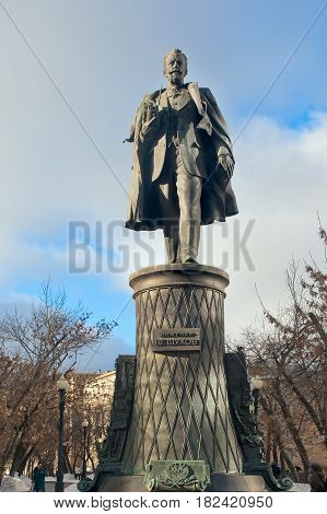 Moscow Russia - February 11, 2017: Monument to the ingenious Russian engineer Vladimir Shukhov on Sretensky Boulevard in Moscow