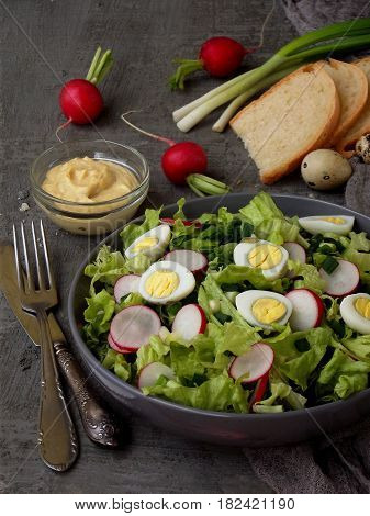 Vitamin Salad From Lettuce, Radish, Green Onions And Eggs, Seasoned With Vegetable Oil And Mustard I
