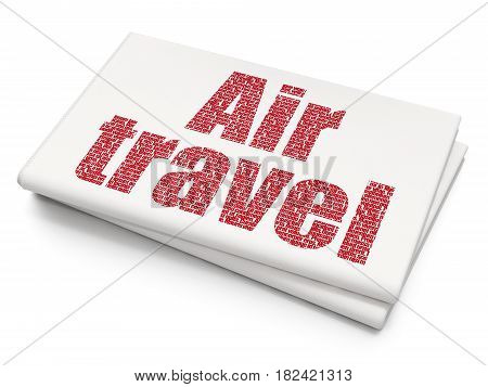 Travel concept: Pixelated red text Air Travel on Blank Newspaper background, 3D rendering