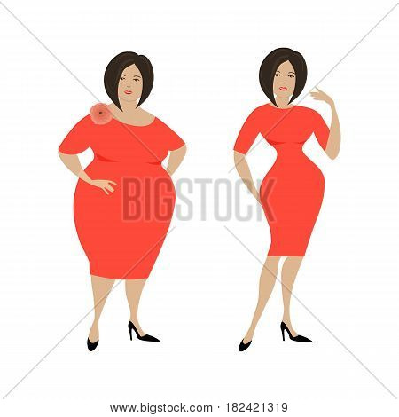Plump woman in a red dress isolated on a white background and the same woman after losing weight. Vector illustration.
